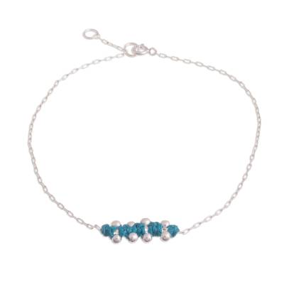 Sterling Silver Pendant Anklet in Turquoise from Peru
