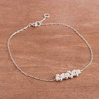 Sterling silver pendant anklet, 'Gleaming Beads in Snow White' - Sterling Silver Pendant Anklet in Snow White from Peru