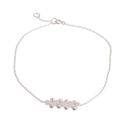 Sterling Silver Pendant Anklet in Snow White from Peru