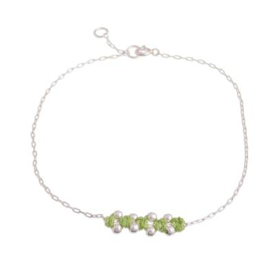 Sterling Silver Pendant Anklet in Avocado from Peru