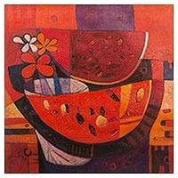 'Flowers' - Signed Still Life Cubist Painting of Flowers and Watermelon