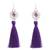 Silver dangle earrings, 'Passionate Nest in Blue-Violet' - Silver Dangle Earrings with Blue-Violet Tassels (image 2a) thumbail