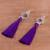 Silver dangle earrings, 'Passionate Nest in Blue-Violet' - Silver Dangle Earrings with Blue-Violet Tassels (image 2b) thumbail
