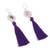 Silver dangle earrings, 'Passionate Nest in Blue-Violet' - Silver Dangle Earrings with Blue-Violet Tassels (image 2c) thumbail