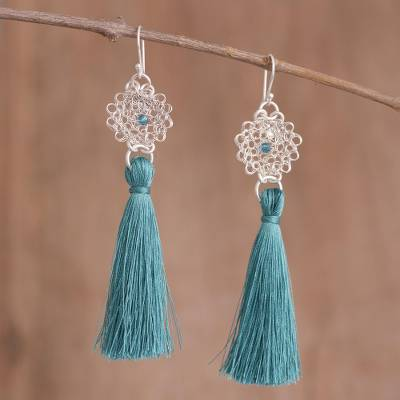 Silver dangle earrings, Passionate Nest in Teal