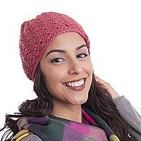100% alpaca hat, 'Strawberry Princess' - Hand-Crocheted 100% Alpaca Hat in Strawberry from Peru
