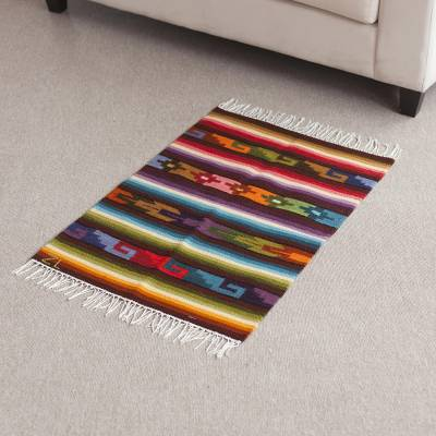 Wool area rug, Inca Rainbow (2x2.5)