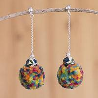 Ceramic and wool dangle earrings, 'Floral Pollera' - Ceramic and Wool Dangle Earrings Crafted in Peru