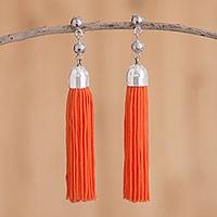 Sterling silver dangle earrings, 'Orange Fringe' - Sterling Silver Fringed Dangle Earrings in Orange from Peru
