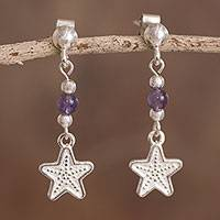 Amethyst dangle earrings, 'Star Glimmer' - Star-Shaped Amethyst Dangle Earrings from Peru