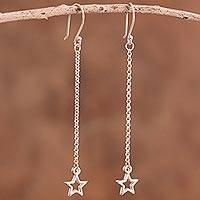 Sterling silver dangle earrings, 'Star Space' - Sterling Silver Star Dangle Earrings from Bali