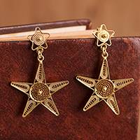 Gold plated sterling silver filigree dangle earrings, 'Starry Cosmos' - Gold Plated Sterling Silver Filigree Star Earrings from Peru