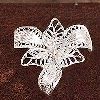 Sterling silver filigree brooch pin, 'Tropical Orchid' - Orchid Sterling Silver Filigree Brooch Pin from Peru