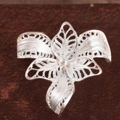 Sterling silver filigree brooch pin, Tropical Orchid