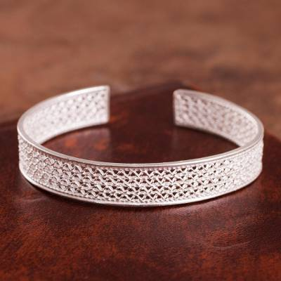 Sterling silver filigree cuff bracelet, 'Colonial Shine' - Sterling Silver Filigree Cuff Bracelet from Peru
