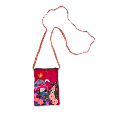 Handcrafted Arpillera Cotton Blend Cell Phone Bag from Peru