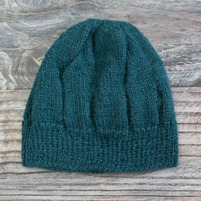 100% alpaca knit hat, 'Andean Comfort in Teal' - Hand-Knit 100% Alpaca Hat in Teal from Peru