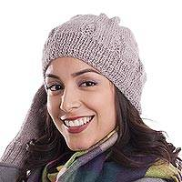 100% alpaca knit hat, 'Andean Comfort in Mauve' - Hand-Knit 100% Alpaca Hat in Mauve from Peru