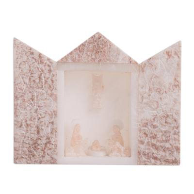 Alabaster Nativity Scene in Pink from Peru