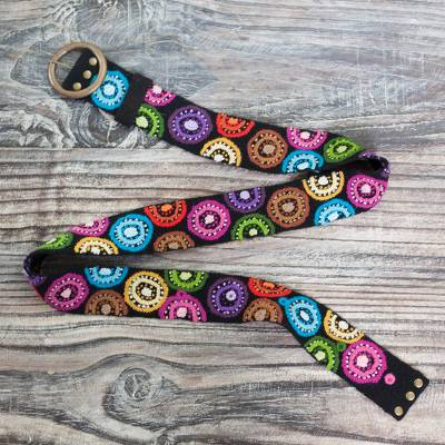 Wool belt, 'Andean Multicolor' - Multicolored Embroidered Wool Belt from Peru