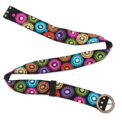 Multicolored Embroidered Wool Belt from Peru