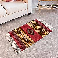 Wool area rug, 'Inca Empire' (2x3) - Inca-Inspired Wool Area Rug from Peru (2x3)