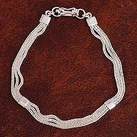 Sterling silver chain bracelet, 'Silver Royalty' - Sterling Silver Foxtail Chain Bracelet from Peru