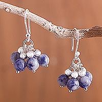 Sodalite cluster earrings,