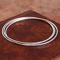 Sterling silver bangle bracelet, 'Trio Splendor' - Interconnected Sterling Silver Bangle Bracelet from Peru