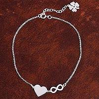 Sterling silver anklet, 'Love Infinite' - Sterling Silver Heart Pendant Anklet from Peru