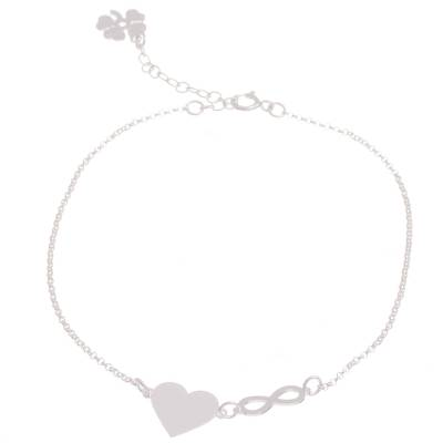 Sterling Silver Heart Pendant Anklet from Peru