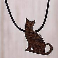 Wood pendant necklace- 'Watchful Cat' (Peru)