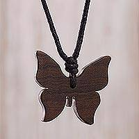 Wood pendant necklace, 'Brown Butterfly' - Handmade Wood Butterfly Pendant Necklace from Peru