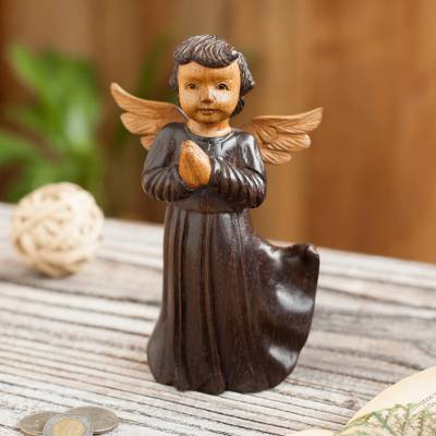 Cedar wood sculpture, 'Celestial Angel' - Hand-Carved Cedar Wood Angel Sculpture from Peru