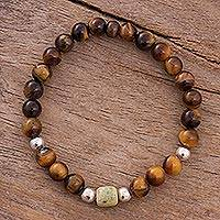 Tiger's eye and serpentine beaded stretch bracelet, 'Fire of the Heart' - Tiger's Eye and Serpentine Beaded Stretch Bracelet