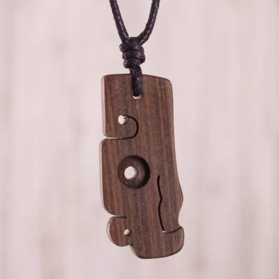 Wood pendant necklace, 'Chavin Condor' - Hand-Carved Cultural Wood Pendant Necklace from Peru
