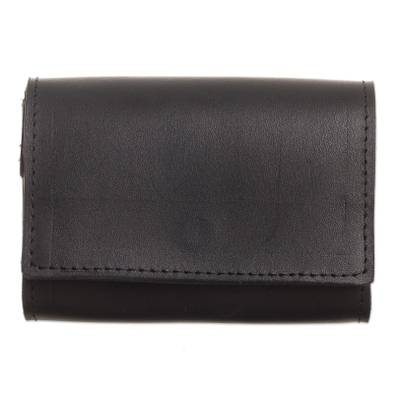 Handcrafted Leather Wallet in Solid Black from Peru