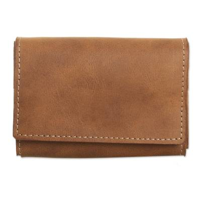 Handcrafted Leather Wallet in Solid Coffee from Peru