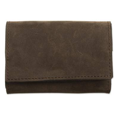 Handcrafted Leather Wallet in Lichen from Peru