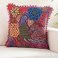 Alpaca blend cushion cover, 'Elegant Peacock' - Peacock-Themed Alpaca Blend Cushion Cover from Peru