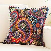 Alpaca blend cushion cover, 'Coral Haven' - Paisley Motif Alpaca Blend Cushion Cover from Peru