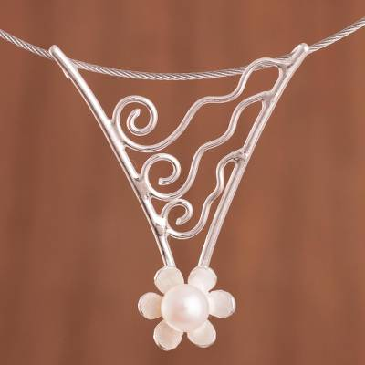 Cultured pearl pendant necklace, 'Flowering Pearl' - Wavy Floral Cultured Pearl Pendant Necklace from Peru