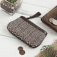 Leather accented alpaca blend coin purse, 'Road to the Mountain' - Brown Zigzag Motif Leather Accented Alpaca Blend Coin Purse