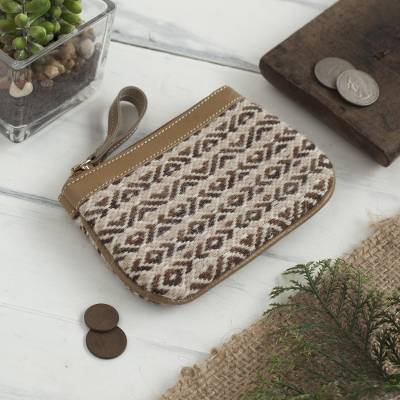 Leather accented alpaca blend coin purse, 'Mountain Perfection' - Patterned Leather Accented Alpaca Blend Coin Purse from Peru