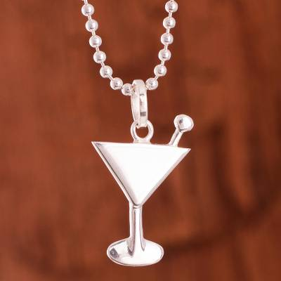Sterling silver pendant necklace, 'Martini Glass' - Sterling Silver Martini Glass Pendant Necklace from Peru