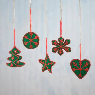 Embroidered ornaments, 'Peruvian Christmas in Viridian' (set of 5) - Embroidered Ornaments in Viridian from Peru (Set of 5)