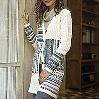 100% alpaca cardigan, 'Patchwork' - Ivory and Multi-Color Patchwork 100% Alpaca Knit Cardigan