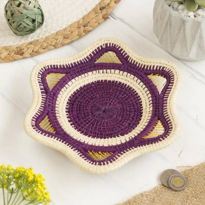 Chambira tree fiber decorative basket, 'Plum Star' - Chambira Tree Fiber Decorative Basket in Plum from Peru