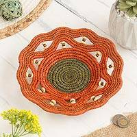 Chambira tree fiber decorative basket, 'Iquitos Jungle' - Chambira Tree Fiber Decorative Basket in Pumpkin from Peru