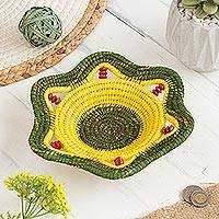 Chambira tree fiber decorative basket, 'Daffodil Star' - Chambira Tree Fiber Decorative Basket in Yellow and Green